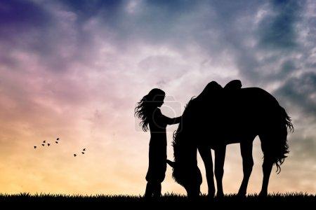 Photo pour Illustration de fille et cheval au coucher du soleil - image libre de droit