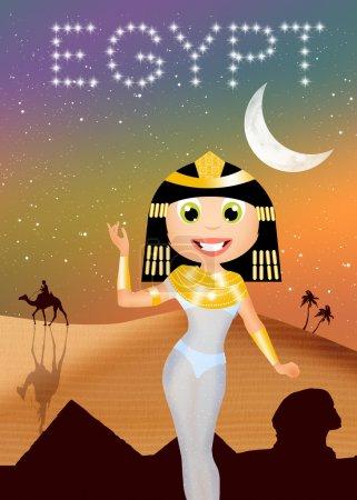 Photo pour Illustration de Cléopâtre en Egypte - image libre de droit