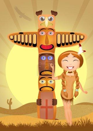 Photo pour Illustration de totem indien et fille indienne - image libre de droit