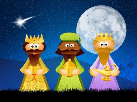Photo pour Illustration des trois rois mages dessin animé - image libre de droit