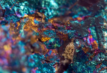 Crystal,nugget, gold, bronze, copper, iron. Macro....