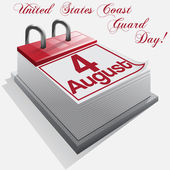 calendar 4 August United States Coast Guard Day  Vector