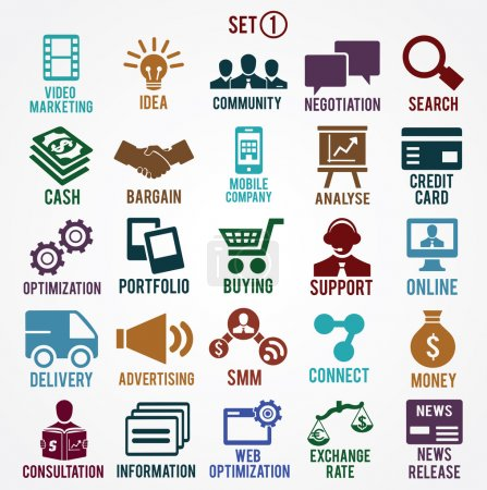 Illustration for Set of internet services icons - part 1 - vector symbols - Royalty Free Image