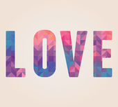 Vector Love word made of triangles