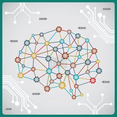 Illustration pour Processus du cerveau avec circuits - illustration vectorielle - image libre de droit