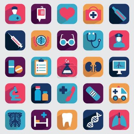 Photo pour Ensemble d'icônes médicales plates pour la conception - icônes vectorielles - image libre de droit