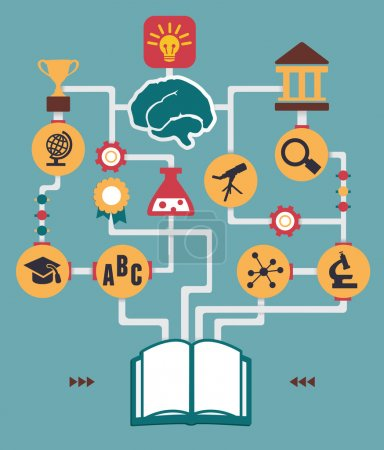 Illustration for Infographic of education process birth of idea - vector illustration - Royalty Free Image