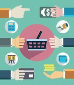 Platby a prodej. plochý pojetí podnikání s rukama