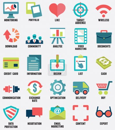 Set of media service flat icons - part 1