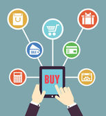Internet shopping Mobile order and payment Flat style