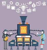 Businessman and businesswoman create ideas