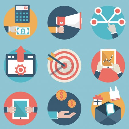 Illustration for Flat set of modern vector icons and symbols on business management or analytics and e-commerce theme - part 2 - vector icons - Royalty Free Image
