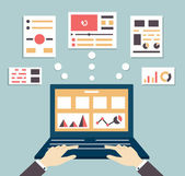 Flat vector illustration of web and application optimization programming design and analytics