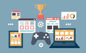 Vector flat illustration of gamification in business Management and analytics