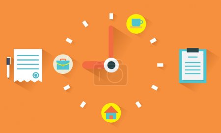 Vector flat concept of time management. Clock face and timetable