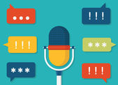 Vector flat illustration of voice data Task management by voice