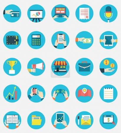 Set of business internet service and ecommerce icons. Symbols on management or analytics. Flat style