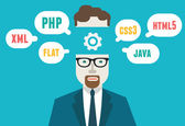 Flat vector illustration of programmer and process coding and programming Workflow and planning