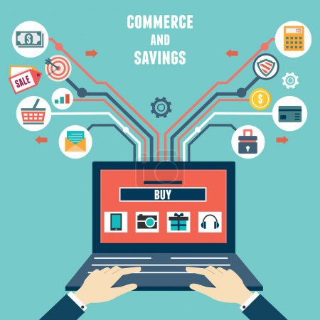 Illustration for Vector flat concept of commerce and savings. Internet shopping - vector illustration - Royalty Free Image