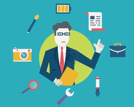 Illustration pour Concept vectoriel plat des ressources humaines et de l'emploi. Gestion et main-d'œuvre - illustration vectorielle - image libre de droit