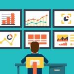 Flat vector illustration of web analytics information and development website statistic