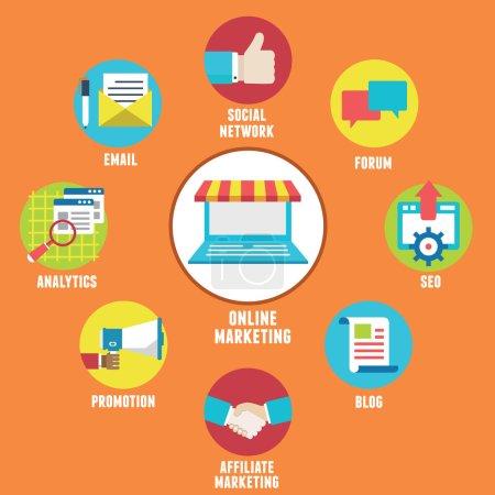 Illustration pour Concept de marketing en ligne. composants et stratégie - illustration vectorielle - image libre de droit