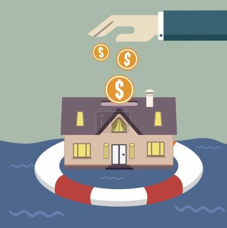 Illustration pour Concept d'assurance habitation - illustration vectorielle - image libre de droit