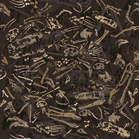 seamless dinosaur bones pattern