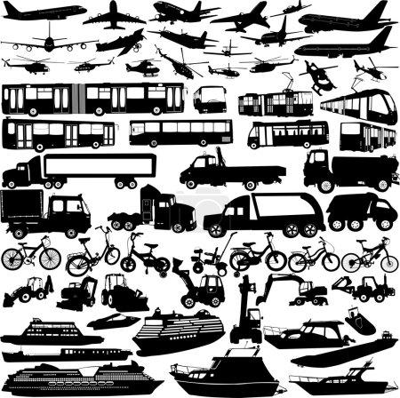 Illustration pour Silhouettes de transport collection - vecteur - image libre de droit