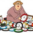 This illustration depicts a woman setting the time...