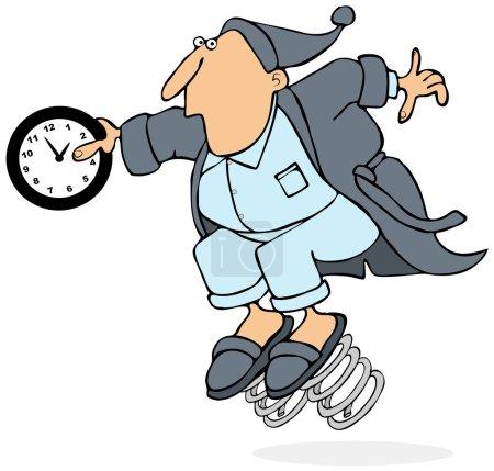 Photo pour Cette illustration représente un homme en peignoir avec des ressorts sur ses pantoufles tenant une horloge à 2 heures du matin . - image libre de droit
