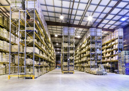Photo for Interior of new large and modern warehouse space - Royalty Free Image