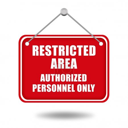 Photo for Restricted area signboard isolated on white - Royalty Free Image