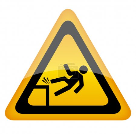 Illustration for Fall danger warning sign - Royalty Free Image