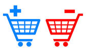 Add and remove shopping carts vector illustration