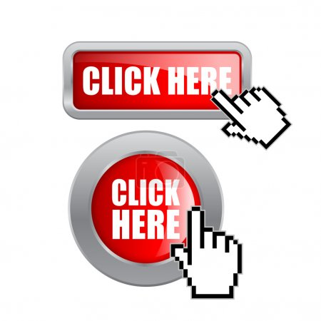 Illustration pour Cliquez ici boutons vectoriels isolés sur blanc - image libre de droit