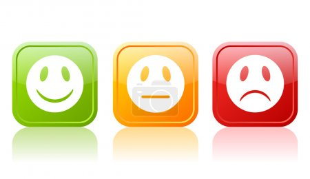 Illustration for Reaction faces set isolated on white - Royalty Free Image