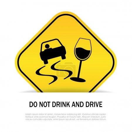 Illustration pour Ne pas boire et conduire signe - image libre de droit