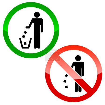 Illustration for No littering triangle signs on a white background - Royalty Free Image