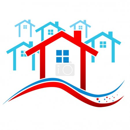 Illustration for New Houses Real Estate Frame. Vector illustration - Royalty Free Image