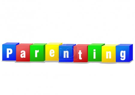 Photo for Parenting concept bricks illustration in bright colors - Royalty Free Image