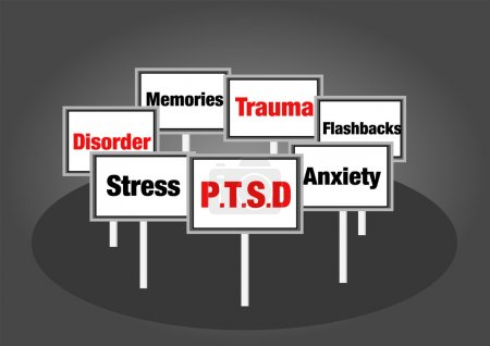 Photo for Post traumatic stress disorder signs with text - Royalty Free Image
