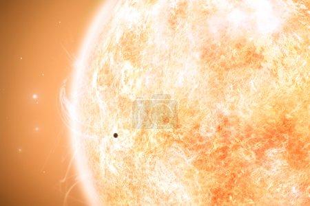 Planet mercury before sun surface...