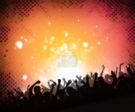 Photo pour Arrière-plan de musique colorée de danse silhouettes pour discothèque parti affiches et dépliants - image libre de droit