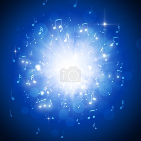 Photo pour Explosion de notes de musique dans le noir avec des lumières et le bokeh fond - image libre de droit