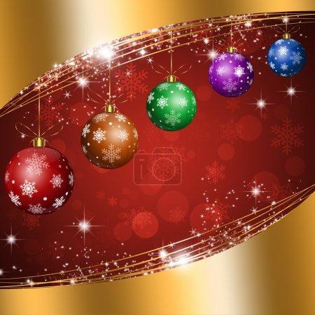 Christmas Balls Gold Background