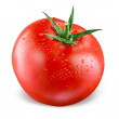 Tomato with drops isolated on white background...