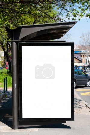Photo pour Espace vide sur la station de bus pour vos annonces - image libre de droit