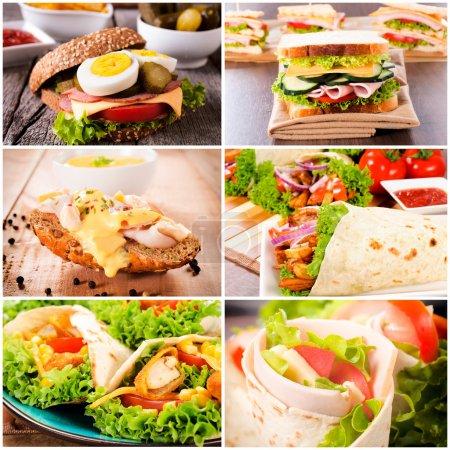Photo pour Groupe de sandwichs à la tortilla et pain grillé - image libre de droit