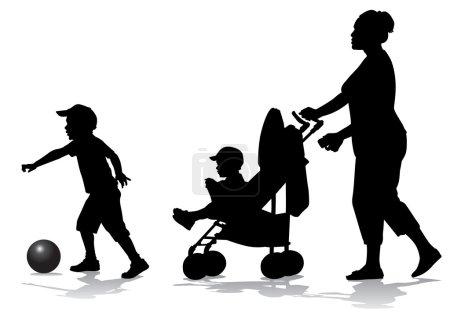 mère avec enfants sur pied